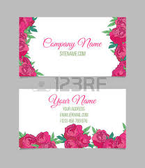 double sided floral business card template with pink peonies