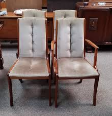 Set Of Four Dining Chairs Item N2433 Set Of Four Teak Fabric Dining Chairs C 1960s