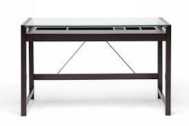 Office Desks Chicago Baxton Studio Idabel Brown Wood Modern Desk With Glass Top