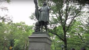 christopher columbus statue in nyc vandalized with creepy spray