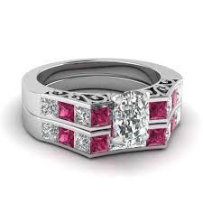 preset engagement rings 2 5 carat cushion cut preset wedding ring sets with pink