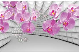 Pink Orchids In 3d Grey Tunnel Background