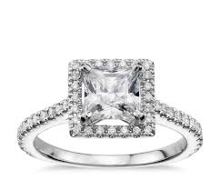 princess cut engagement rings white gold princess cut floating halo engagement ring in 14k white