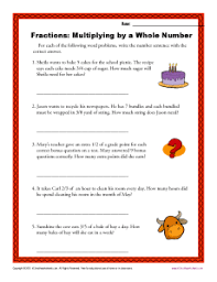 multiplying by a whole number fractions worksheets