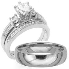 cheap wedding rings sets 3 pieces men s women s his hers 925 sterling