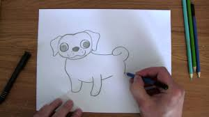 how to draw easy pug cute puppy youtube