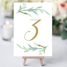 wedding table number fonts greenery wedding table numbers template printable reception table