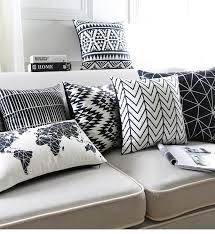 coussin décoratif pour canapé noir et blanc coussin covers géométriques triangles bande carte du