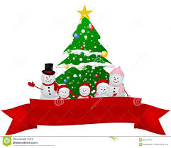 merry christmas snowman family with red ribbon royalty free stock