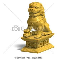 foo fu dog golden foo dog chines fu dog in gold 3d render and