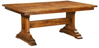 solid wood trestle dining table amish rustic plank trestle dining table rectangle extending solid