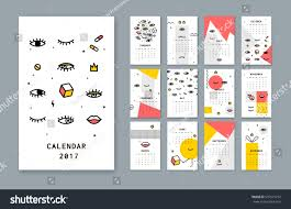 Design Styles 2017 Calendar Template 2017 There Open Eyes Stock Vector 537515272