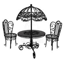umbrella table and chairs set black wire garden umbrella table chair 1 12 doll s house