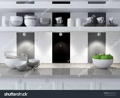 modern kitchen design ceramic kitchenware on stock illustration