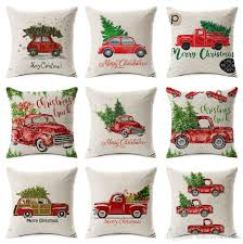 merry cushion cover car driving tree pillow
