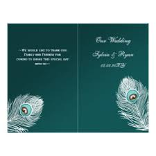 Peacock Wedding Programs Peacock Wedding Invitations Flyers U0026 Leaflets Zazzle Co Nz