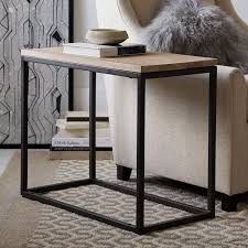 Side Tables For Living Rooms Box Frame Narrow Side Table Wood Antique Bronze West Elm