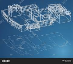 create blueprints blueprint plan of school building in third view and basic stock
