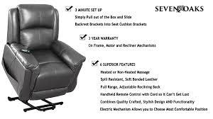 amazon com seven oaks blkleathmod power lift recliner for seniors