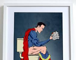 superhero on toilet poster comic book wall art print home