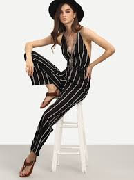 black and white jumpsuit black and white striped sleeveless v neck jumpsuit shein sheinside