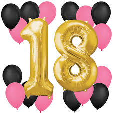 balloons for 18th birthday chic 18th birthday pink black and gold balloon kit
