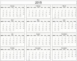 printable calendar year 2015 yearly 2015 printable calendar black and white week starts on monday