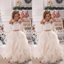2017 new lace white ivory flower girls dresses sheer jewel neck