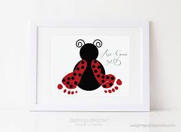 Ladybug Home Decor Red Ladybug Nursery Art Print Baby Wall Decor Footprint