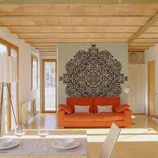 living room mural 20 living rooms with beautiful wall mural designs orange couch