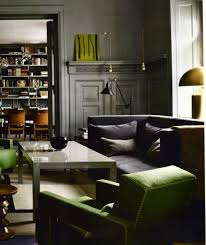 charcoal walls grass green clean lines great masculine room