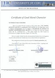 Sle Certification Letter Good Moral Character 5 Letters Of Good Moral Resume Samples In Word Format