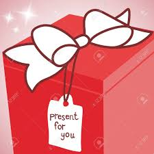 big present bow big gift box with ribbon bow and label vector present