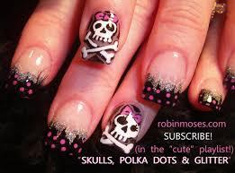 skull nail designs nail black animal print nail emo skull