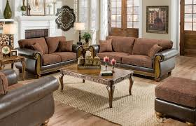 Brown Fabric Sofa Set Brown Fabric Traditional Sofa U0026 Loveseat Set W Faux Leather Arms