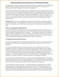 Template For Letter Of Appeal Example Appeal Letter For Primary School Admission Cover Letter