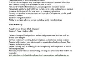 Delivery Driver Resume Examples by Pizzeria Resume Reentrycorps