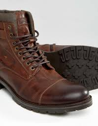 brown motorcycle boots for men jack u0026 jones albany leather boots in brown for men lyst