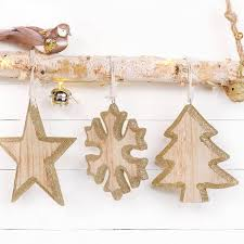 wooden glitter christmas hanging decoration by thelittleboysroom