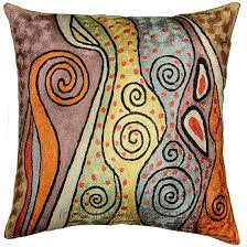 Cushion Covers For Sofa Pillows by Klimt Accent Pillow Cover Rainbow Silk Hand Embroidered 18 U2033 X 18