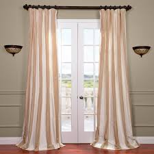 cappuccino faux silk taffeta stripe curtains panel