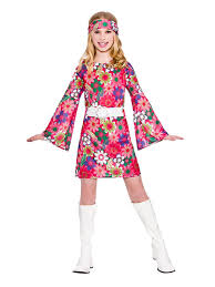 Hippie Halloween Costumes Child 60s 70s Flower Power Groovy Retro Gogo Hippy Girls Fancy