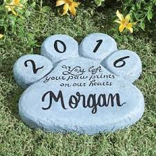 dog memorial personalized paw print dog cat pet memorial stepping garden