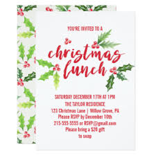 lunch invitations christmas lunch invitations announcements zazzle