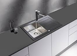 Respekta Glass Sink Sinks Glass Inset Sink New York X Black - Black glass kitchen sink