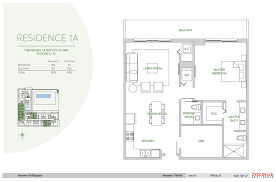 aventura parksquare condo 1 bedroom 1 5 bathroom floorplan
