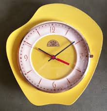 retro vintage 60 u0027s french yellow tulip kitchen wall clock made by