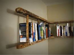 interior brown trasitional solid wood wall ladder book shelf