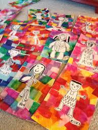 kindergarten self portraits on tissue paper backgrounds u003c3