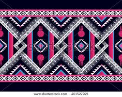 Traditional Design Seamless Colorful Aztec Pattern Watercolor Illustration Stock
